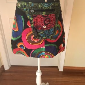 Two-side Reversible Wrap Mini Skirt One Size O/S.